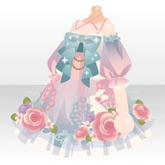 Anime dress with flowers (roses) with bows