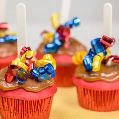 Caramel apply cupcakes with ribbon picks for extra fun