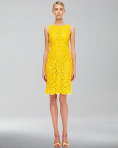 Floral Lace Empire Shift Dress - Neiman Marcus/jaune/yellow/gelb
