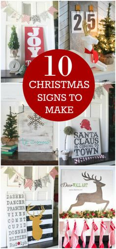 10 Christmas Signs to Make this Season! Tutorials for all of these trendy Christmas signs! DIY Christmas decor ideas!