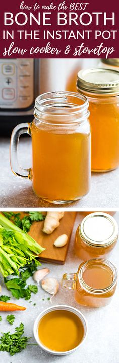 Homemade Bone Broth is healthy, nourishing and easy to make using your Instant Pot Pressure Cooker, slow cooker or on the stove-top. Best of all, this recipe can be customized with chicken, pork, beef knuckle, bone marrow or turkey & any vegetables. Perfect natural medicine to help heal leaky gut, improve auto-immune diseases & get your health back. Plus the collagen makes your skin so smooth - better than Botox! #bonebroth #liquidgold #instantpot #slowcooker #recipe #keto #whole30 #paleo