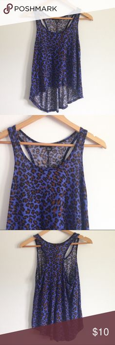 """F21 Blue Leopard Racerback HighLow Tank Blue leopard print tank top - perfect for summer! Racerback style with a high-low hem. Forever 21, size small. Measures 18"""" wide, 24"""" long. Great condition! Forever 21 Tops Tank Tops"""