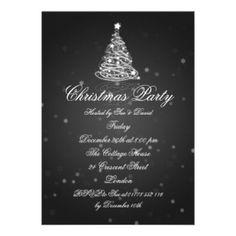 Modern Christmas invitation   ... Wedding Invitations - 5x7 Party Invitation Elegant Modern Tree Black