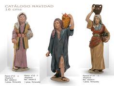PASTORES Nº13 y Nº12, PASTORA Nº14. Figuras de belén/pesebre, de terracota policromada, de 16 cm. Autor José Luis Mayo Lebrija.