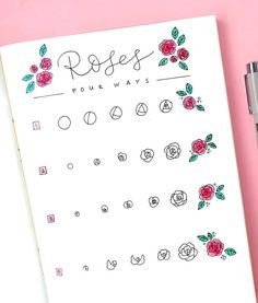 Trendy Ideas Drawing Tutorial Step By Step Doodles Bullet Journal Art, Bullet Journal Ideas Pages, Bullet Journal Inspiration, Rose Doodle, Floral Doodle, Flower Step By Step, Step By Step Drawing, How To Draw Flowers Step By Step, Doodle Drawings