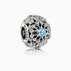 PANDORA | Disney openwork snowflake silver charm with fancy light blue and clear cubic zirconia  #PandoraPassion
