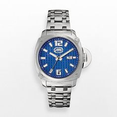 Men's Wrist Watches - Rhino by Marc Ecko Mens The McQueen Blue Dial Square Stainless Steel Bracelet Watch E8M111MV * Check this awesome product by going to the link at the image.