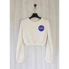 Nasa Crop Top Sweatshirt Sweater Shirt Size S M L ($25) ❤ liked on Polyvore featuring tops, hoodies, sweatshirts, white, women's clothing, white shirt, white crewneck sweatshirt, ribbed crop top, long sleeve sweatshirt and crop top