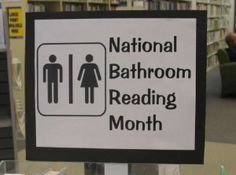 June is national bathroom reading month, and don't forget a Shark Week display (to go with Dobby's outfit) Also: tips for creating book displays.
