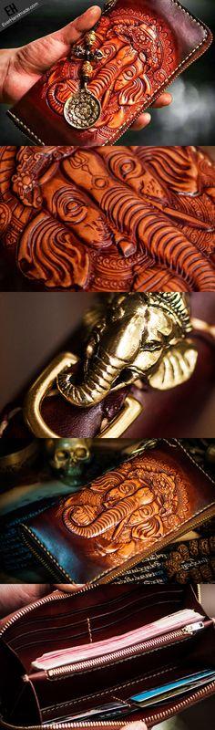 Handmade leather God Geneisha clutch zip long wallet brown leather men