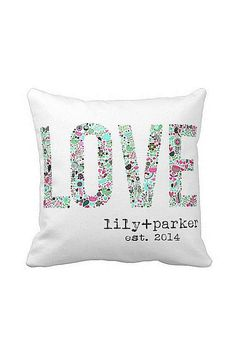 Personalized Floral LOVE Wedding Pillow - great for an anniversary gift   many possibilities