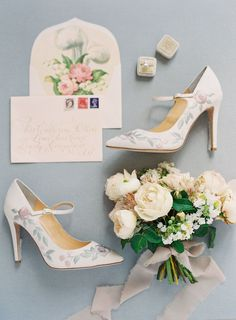 romantic wedding invitation flatlay - photo by Kurt Boomer http://ruffledblog.com/enchanted-garden-bridal-inspiration