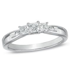 3/8 CT. T.W. Princess-Cut and Baguette Diamond Three Stone Engagement Ring in 10K White Gold - Zales
