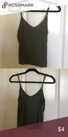 green tank top/crop top army green tank top / crop top from american eagle. very lightly worn. American Eagle Outfitters Tops Tank Tops
