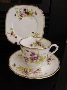 Royal Albert Crown china Trio Bone China Vintage Rare Violets