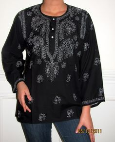 Indian cotton tunics soft machine washable non crease Indian tunic tops / kurti Sale. Indian Tunic Tops, Indian Tops, Evening Shawls And Wraps, Cotton Tunic Tops, Kurti Embroidery Design, Tunic Designs, Black Cotton, Plus Size, How To Wear