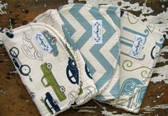 Baby Boy Burp Cloths - Set of 3 - Navy & Olive Green Cars, Vintage Blue Chevron and Alphabet by theposhpeaboutique on Etsy https://www.etsy.com/listing/157573307/baby-boy-burp-cloths-set-of-3-navy-olive