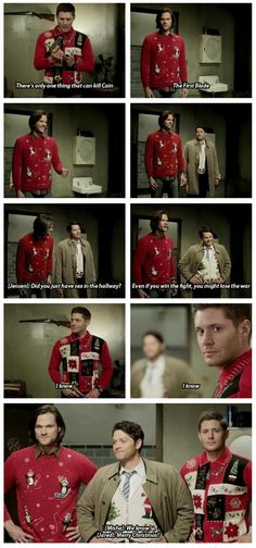 "[gifset] Jensen, Jared and Misha with the xmas sweaters LOL ""I know"" ^_^ #Supernatural season 10 gag reel 