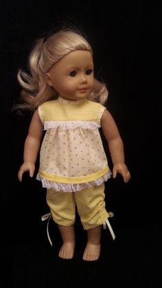 American Girl Doll Clothes: Yellow Summer Pajamas Made From Dog Tag Sweet Dreams Pattern Fits 18 Inch AG And Similar Soft Body Dolls by CutzieDollFashions on Etsy