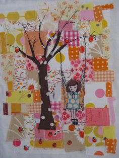 girl on a tree swing mini quilt tutorial using raw edge appliqué technique by…
