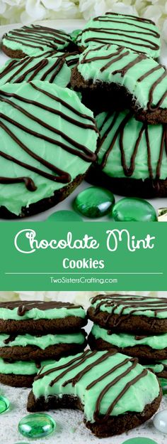 Chocolate Mint Cookies - sweet, chocolatey and covered with our deliciously creamy Mint Buttercream Frosting. These yummy frosted cookies are easy to make and taste just like a Thin Mint Cookie or a bowl of Chocolate Mint Ice Cream. Pin this yummy Cookie Recipe for later and and follow us for more great Cookie Ideas.