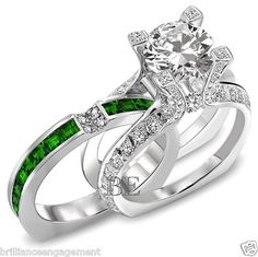 2.75 CT UNIQUE ENGAGEMENT RING BRIDAL SET ROUND DIAMOND & EMERALD BAND