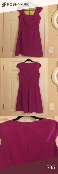 """Andrew Marc Marc New York fuschia dress size 6 Andrew Marc Marc New York fuschia dress size 6. Cap sleeves and beautiful tailoring along bust. Above the knee on me (I'm 5'8"""") Zip closure in back. Fully lined with yellow fabric. No stains, tears or other flaws. Worn twice and dry cleaned.  Approximate measurements (laying flat): 17"""" pit to pit  14.75"""" across waist  34"""" from shoulder to bottom hem of skirt Andrew Marc Dresses"""