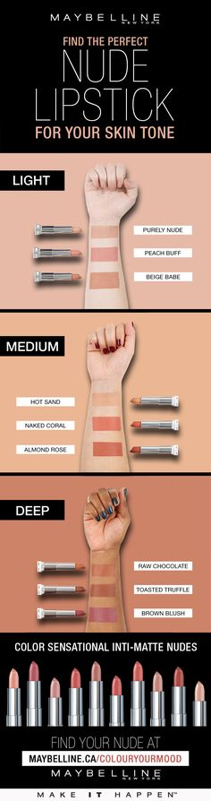 Finding the perfect nude lipstick for your skin tone with Maybelline Beauty Make-up, Beauty Skin, Beauty Hacks, Lipstick Shades, Peach Lipstick, Brown Nude Lipstick, Lipsticks For Brown Skin, Lipstick For Dark Lips, Makeup For Brown Skin