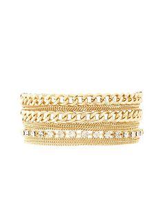 Mixed Chain & Rhinestone Cuff Bracelet #CharlotteLook #CharlotteRusse #jewelry #bracelet