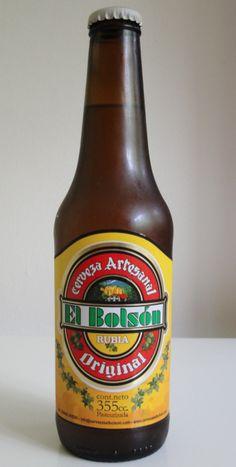 Cerveja El Bolsón Rubia Original, estilo Standard American Lager, produzida por Cervecería El Bolsón, Argentina. 5.2% ABV de álcool.