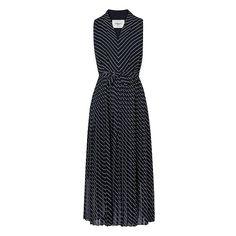 LK Bennett Lora Pleated Blue Full Midi Dress