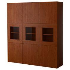 BESTÅ Storage combination w/glass doors - medium brown - IKEA