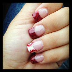 baseball nails, red tip. Baseball Nails, Softball Nails, Baseball Mom, Baseball Nail Designs, Baseball Boyfriend, Baseball Birthday, Baseball Stuff, Baseball Field, Football