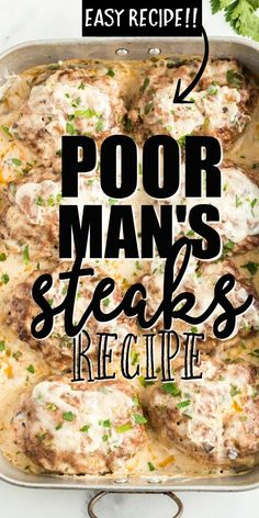 Easy rich and creamy this poor mans steaks recipe is packed with flavor! Ground beef is perfectly seasoned before being cooked then covered in a simple delicious gravy that is baked in the oven. Poor Man Steak Recipe, Easy Healthy Recipes, Easy Meals, Simple Steak Recipes, Ground Beef Recipes Simple, Simple Delicious Recipes, Simple Cooking Recipes, Meals To Make With Ground Beef, Ground Venison Recipes