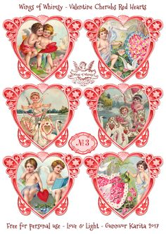 Wings of Whimsy: Valentine Cherubs Hearts Red #vintage #ephemera #freebie #printable #valentine #heart #cherub