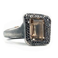 Topaz and Black Diamond Ring