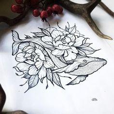 Tattoo traditional sleeve ideas tat New ideas Whale Tattoos, Animal Tattoos, Body Art Tattoos, Ocean Tattoos, Whale Shark Tattoo, Killer Whale Tattoo, Tattoo Sleeve Designs, Flower Tattoo Designs, Flower Tattoos