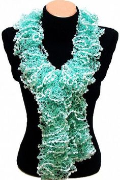 Hand knitted Mint Green ruffled scarf arzus on etsy $19.89