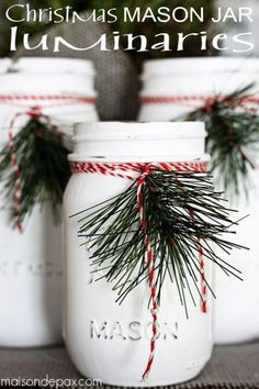 These Christmas Mason Jar Luminaries are SUPER STYLISH!