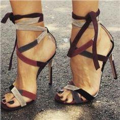 Shoespie Chic Lace Up Color Block Stiletto Heel Open Toe Dress Sandals