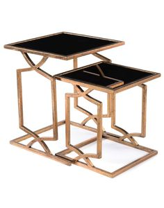 Limited Production Design & Stock: Elegant Beveled Black Glass Nesting Tables * Distressed Aged Gold Finish * Iron Frame * H: 25 Sq: 20 max inches * Part of Extensive Coordinating Range of Hotel Suite Furniture