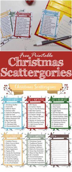 Free Printable Christmas Scattergories Game - DIY Adulation