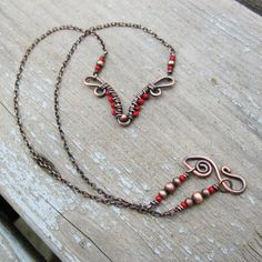 Antiqued Copper and Red bead wrapped necklace by bear run originals on etsy