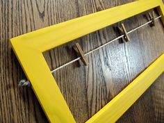 Yellow Collage Wood Picture Frame distressed No Glass Modern Farmhouse Earring Holder Bow holder