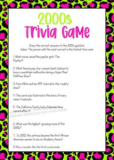 2000s Trivia Game Printable, Girls Night in Game by Pretty Printables Ink on Etsy. This fun 2000s trivia game is perfect for a girls night in, birthday party game, bridal shower game or bachelorette party game! Available to download and print instantly! #2000strivia #2000sgame #girlsnightingame #birthdaygame #bridalshower game #virtualpartygame #bachelorettepartygame #animalprintgame