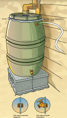 Build a rain barrel  By David Brooks  From the September 2008 issue of Boys' Life magazine                    11 Votes    Conserve water by collecting rainwater and using it for your garden or lawn.    rainbarrel-200x148WHAT YOU'LL NEED        Recycled food barrel (try checking with large restaurants or food distributors)      2 to 4 concrete blocks (to allow room for a bucket to fit under the spigot)      3/4-inch hose spigot      Drill      Saber saw      3/4 x 1-1/4-inch threaded pip...
