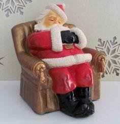 Vtg 1948 SLEEPING SANTA CLAUS CHALKWARE PIGGY BANK Marbello Christmas ST. NICK