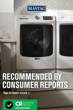 """These front load washers with the Extra Power Button can tackle everyday tough loads in any laundry room. See why Consumer Reports recommends these Maytag® Front-Load Washers (Models MHW5630HW, MHW8630HC, MHW6630HW) and rated their washing performance """"Excellent"""" with scores of 81 and 82 out of a total of 100. Tap to learn more. Maytag Washer And Dryer, Laundry Appliances, Front Load Washer, Power Button, Consumer Reports, Washers, Scores, Laundry Room, Washing Machine"""