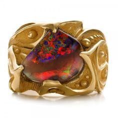 Custom Men's Black Opal and Yellow Gold Ring - Top View