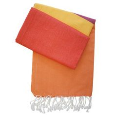 Hamamtuch Alexa orange mit rot und gelb - neue Pestemal-Kollektion. Turkish Towel Alexa from our new collection